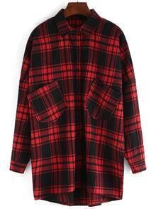 Lapel Plaid High Low Pockets Red Blouse