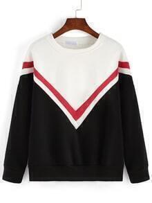 Color-block Round Neck Striped Loose Sweatshirt