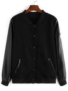 Contrast PU Buttons Patch Black Jacket