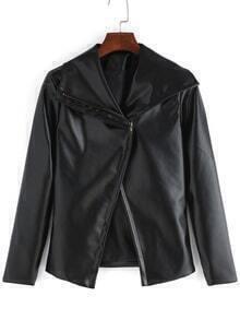 Lapel Zipper PU Slim Black Jacket