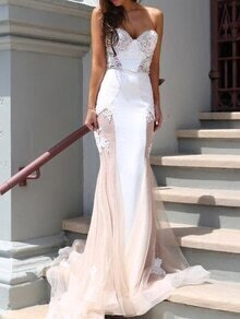 Sweetheart Neck Contrast Lace Mermaid Dress