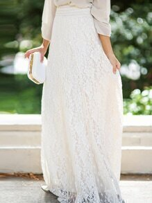 Elastic Waist Lace Embroidered White Skirt