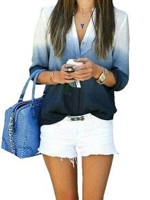 Women Ombre Blue V Neck Shirt