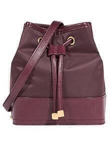 Burgundy Drawstring PU Shoulder Bag