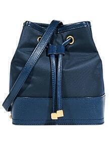 Blue Drawstring PU Shoulder Bag