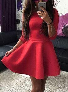 Round Neck Slim Flare Red Dress