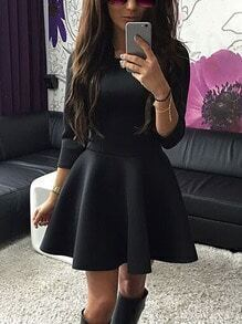 Round Neck Slim Flare Black Dress