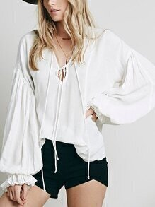 Lantern Sleeve Tie-neck White Blouse