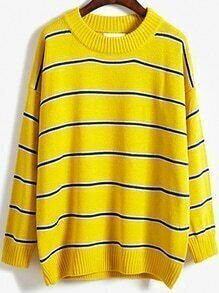 Round Neck Striped Loose Yellow Sweater