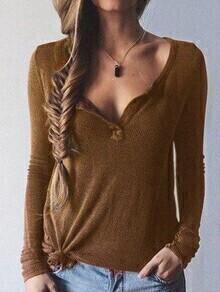 Khaki Long Sleeve Casual Knitwear