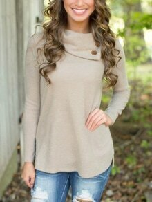 Buttons Long Sleeve Grey Knitwear