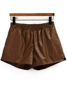 Elastic Waist PU Khaki Shorts