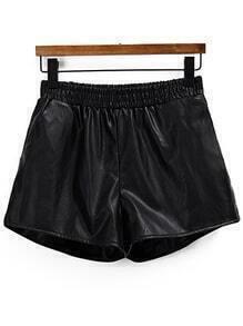 Elastic Waist PU Black Shorts