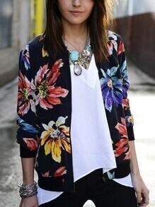 Long Sleeve Floral Crop Jacket