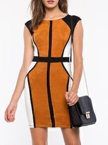 Brown Black Sleeveless Color Block Bodycon Dress