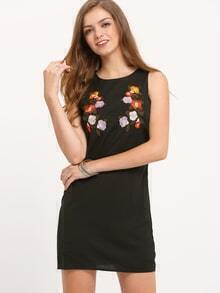 Black Sleeveless Round Neck Embroidered Dress