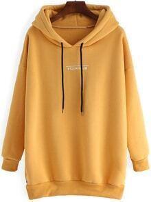 Hooded Letter Print Dip Hem Zipper Slit Yellow Sweatshirt