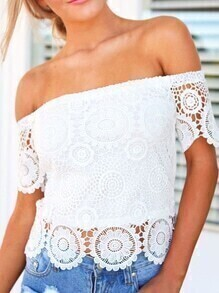 Off The Shoulder Lace Crochet Hollow Out Top