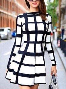 Black White Checkered Skater Dress