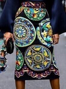 High Waist Aztec Print Pencil Skirt