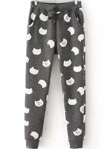 Drawstring Cat Print Grey Pant