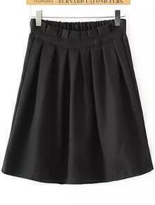 Elastic Waist Single Button Pleated Black Skirt