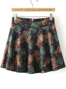 Florals Zipper Yellow Skirt Shorts