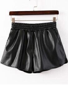 Women Elastic Waist PU Shorts