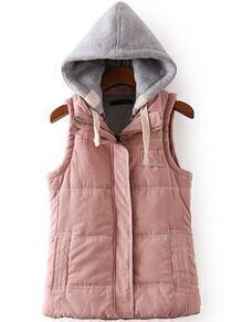Women Contrast Hooded Zipper Pink Vest