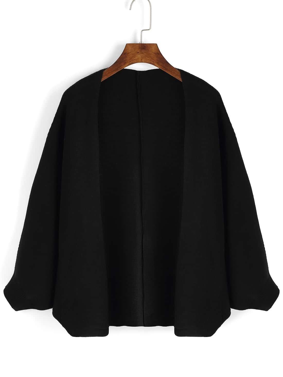 Women Bat Sleeve Black Coat