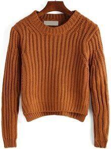 High Low Slit Khaki Sweater