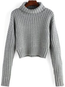 Turtleneck Long Sleeve Crop Grey Sweater