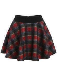 Elastic Waist Plaid Flare Shirt Shorts