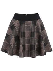 Elastic Waist Plaid Flare Khaki Shirt Shorts