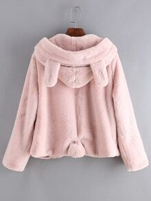 Hooded Zipper Loose Pink Coat