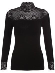 Stand Collar Lace Drop Embroidered Slim Blouse