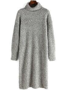 Women Turtleneck Long Grey Sweater Dress