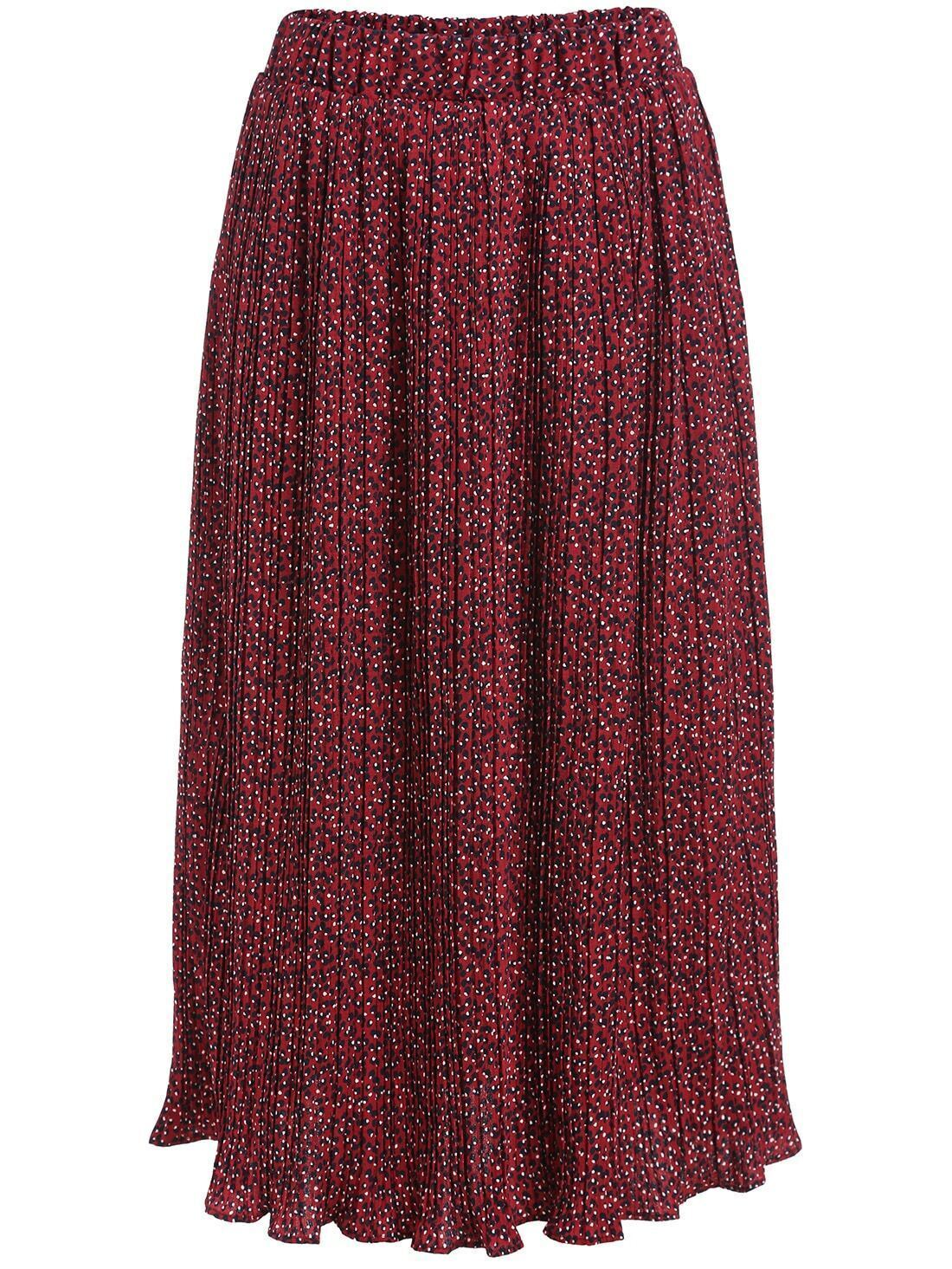 elastic waist polka dot pleated skirt