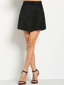 Women Zipper Wrap Skirt Shorts