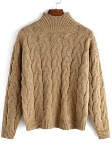 High Neck Cable Knit Khaki Sweater