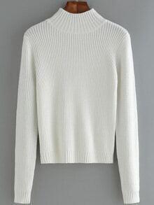 Women Mock Neck Slim White Sweater