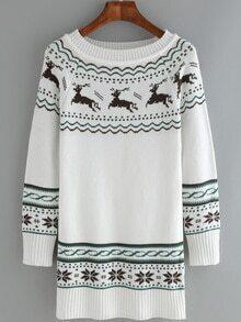 Deer Snowflake Print Long White Sweater