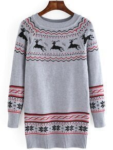 Deer Snowflake Print Long Grey Sweater
