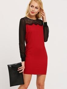 Burgundy Long Sleeve With Lace Dress