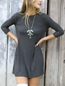 Women Grey Quarter Sleeve Striped Tshirt Dress