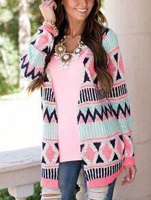 Women Pink Aztec Print Cardigan