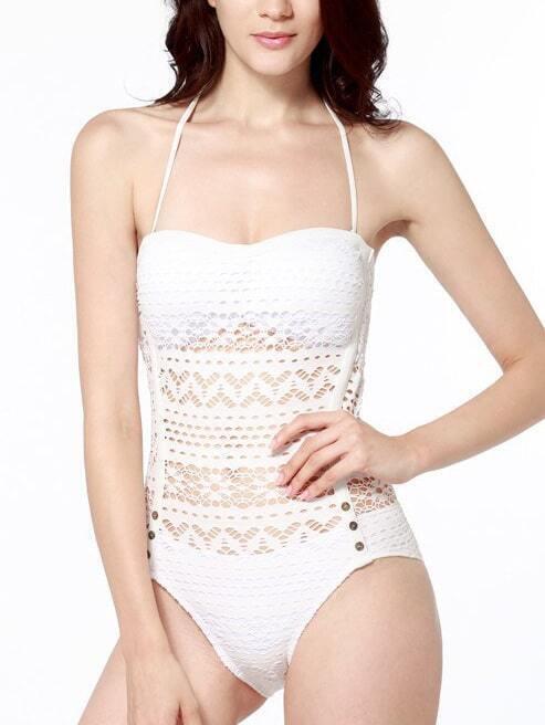 Women White Lace Eyelet Swimwear