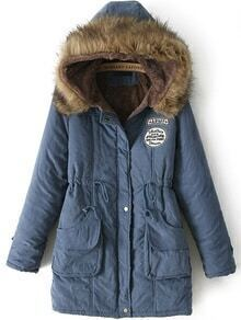 Hooded Drawstring Letter Patch Blue Coat