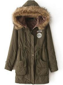 Hooded Drawstring Letter Patch Army Green Coat