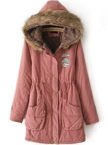 Hooded Drawstring Letter Patch Pink Coat